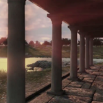 Reconstitution 3D de la villa : vue depuis la terrasse du triclinium sur l'étang orienté Ouest