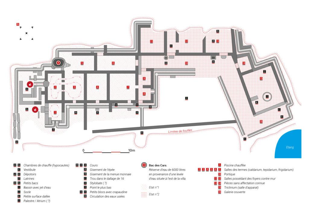 Plan de la villa du site archéologique des Cars.