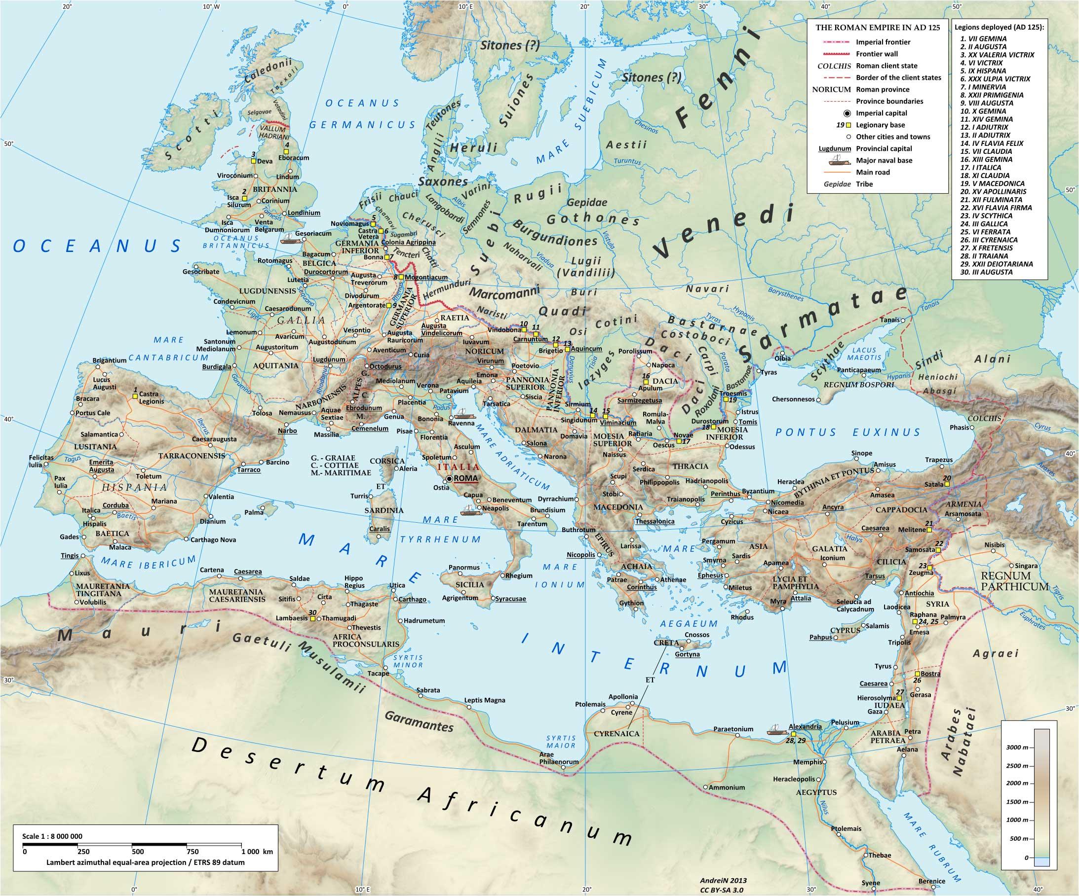 Voies romaines dans l'empire. IIè siècle ap. JC